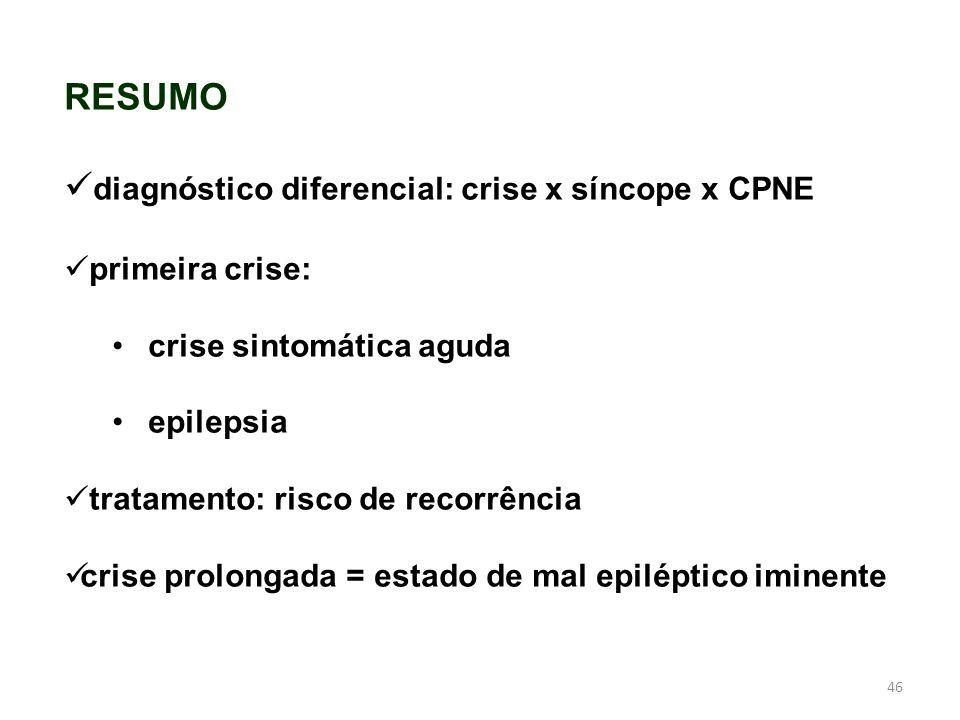 46 RESUMO diagnóstico diferencial: crise x síncope x CPNE primeira crise: crise sintomática aguda epilepsia tratamento: risco de recorrência crise pro
