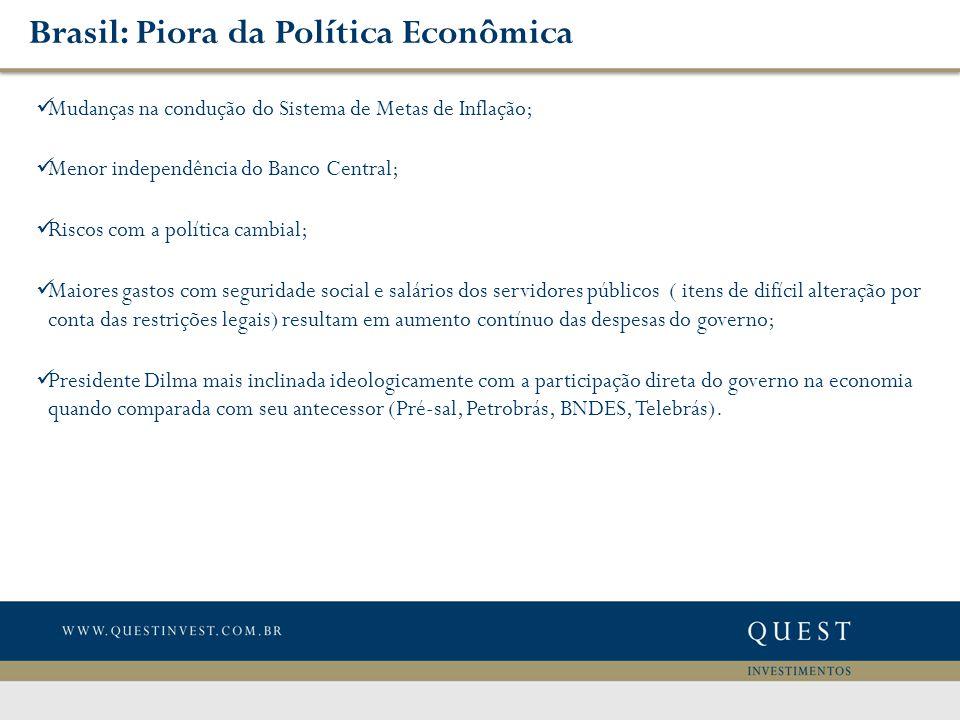 Brasil: Piora da Política Econômica Mudanças na condução do Sistema de Metas de Inflação; Menor independência do Banco Central; Riscos com a política cambial; Maiores gastos com seguridade social e salários dos servidores públicos ( itens de difícil alteração por conta das restrições legais) resultam em aumento contínuo das despesas do governo; Presidente Dilma mais inclinada ideologicamente com a participação direta do governo na economia quando comparada com seu antecessor (Pré-sal, Petrobrás, BNDES, Telebrás).