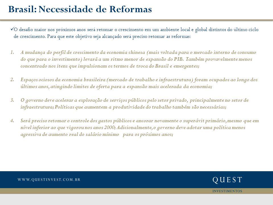 Brasil: Necessidade de Reformas O desafio maior nos próximos anos será retomar o crescimento em um ambiente local e global distintos do último ciclo de crescimento.