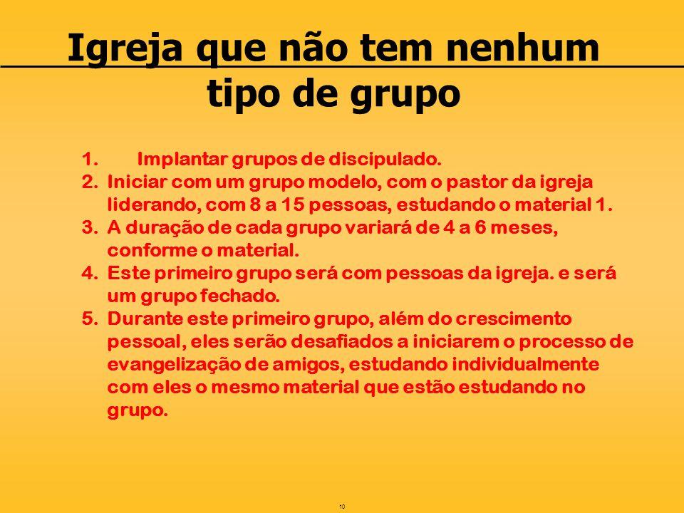 10 Igreja que não tem nenhum tipo de grupo 1.Implantar grupos de discipulado.
