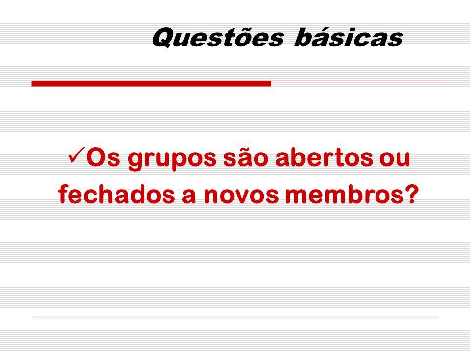 Questões básicas Os grupos são abertos ou fechados a novos membros?