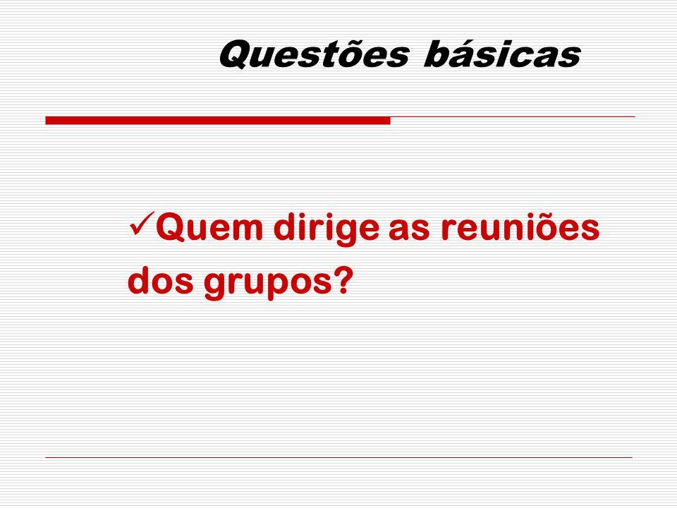 Questões básicas Quem dirige as reuniões dos grupos?