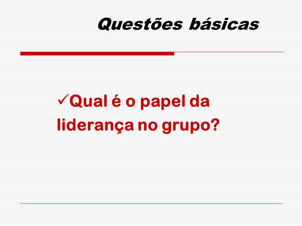 Questões básicas Qual é o papel da liderança no grupo?