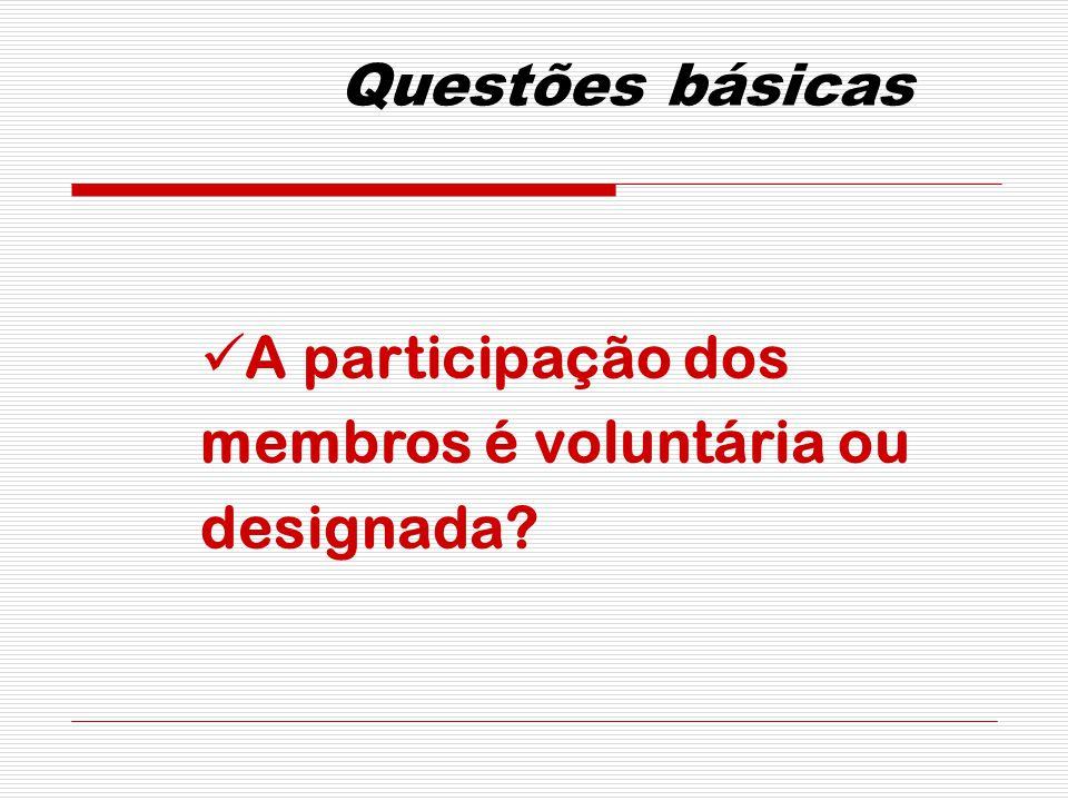 Questões básicas A participação dos membros é voluntária ou designada?