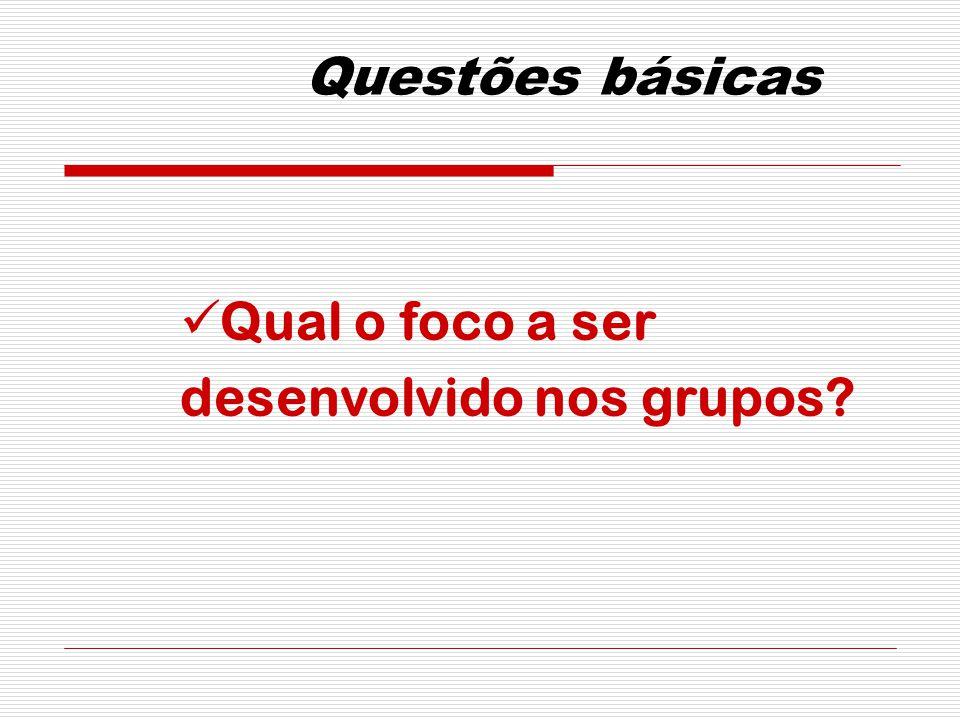 Questões básicas Qual o foco a ser desenvolvido nos grupos?
