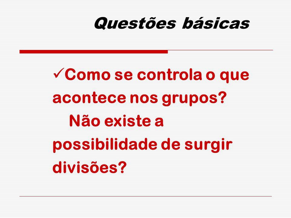Questões básicas Como se controla o que acontece nos grupos.