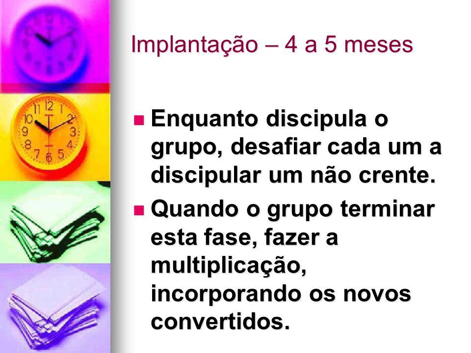 Implantação – 4 a 5 meses Enquanto discipula o grupo, desafiar cada um a discipular um não crente.