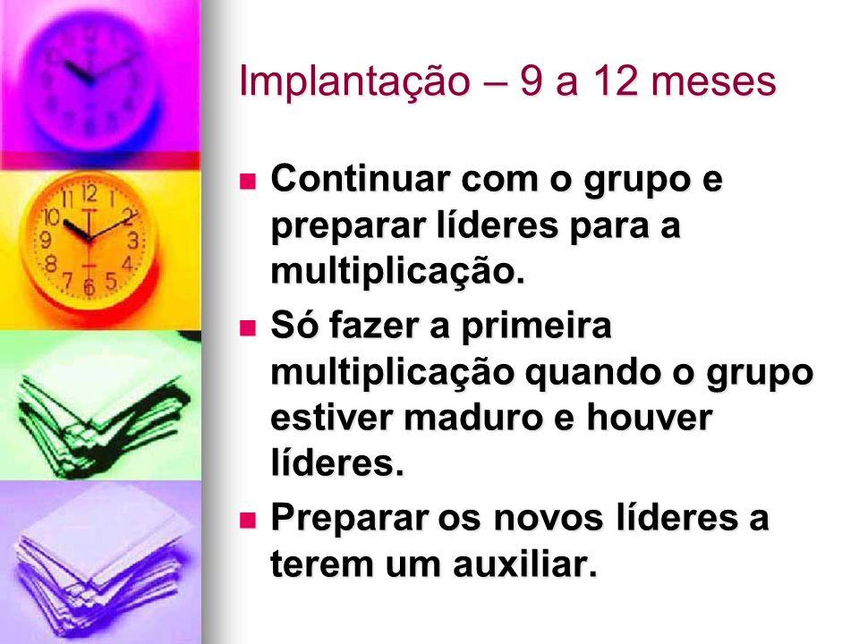 Implantação – 9 a 12 meses Continuar com o grupo e preparar líderes para a multiplicação.