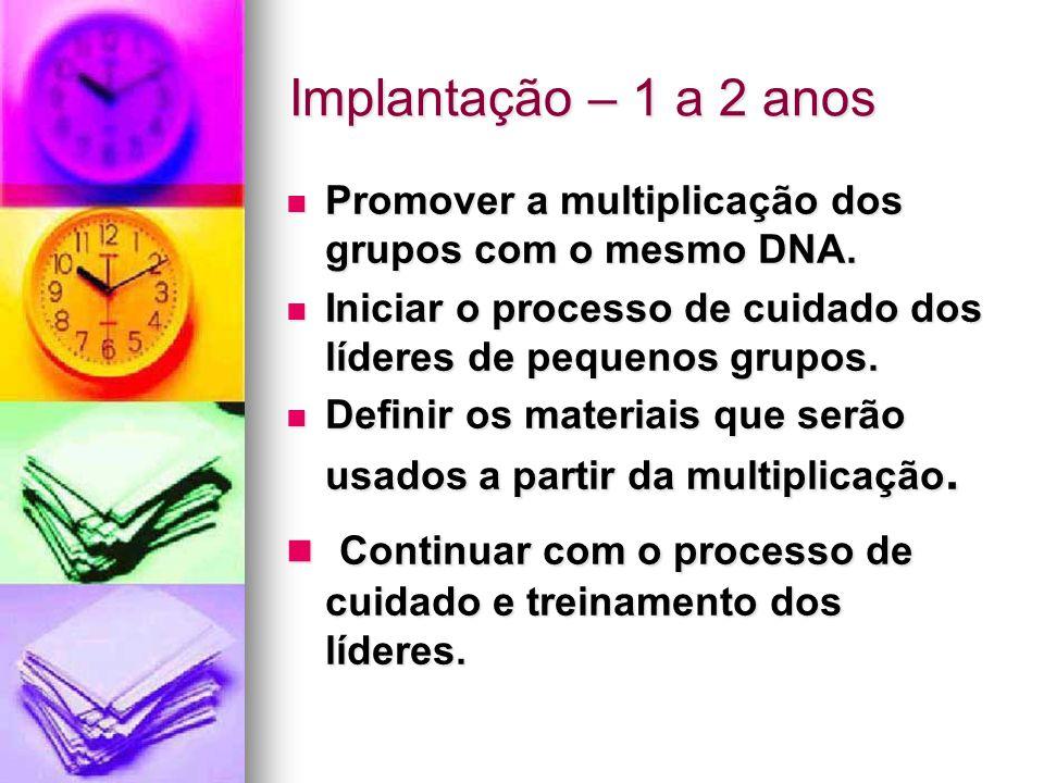 Implantação – 1 a 2 anos Promover a multiplicação dos grupos com o mesmo DNA.