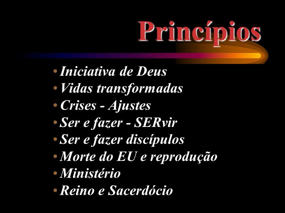 Princípios Iniciativa de Deus Vidas transformadas Crises - Ajustes Ser e fazer - SERvir Ser e fazer discípulos Morte do EU e reprodução Ministério Reino e Sacerdócio