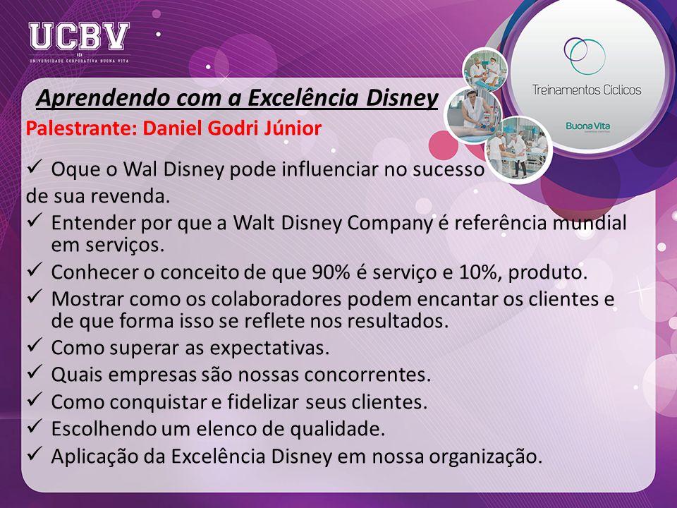 Aprendendo com a Excelência Disney Palestrante: Daniel Godri Júnior Oque o Wal Disney pode influenciar no sucesso de sua revenda.