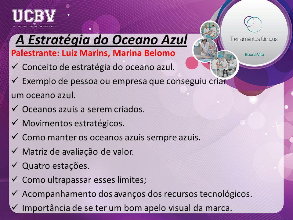 A Estratégia do Oceano Azul Palestrante: Luiz Marins, Marina Belomo Conceito de estratégia do oceano azul.