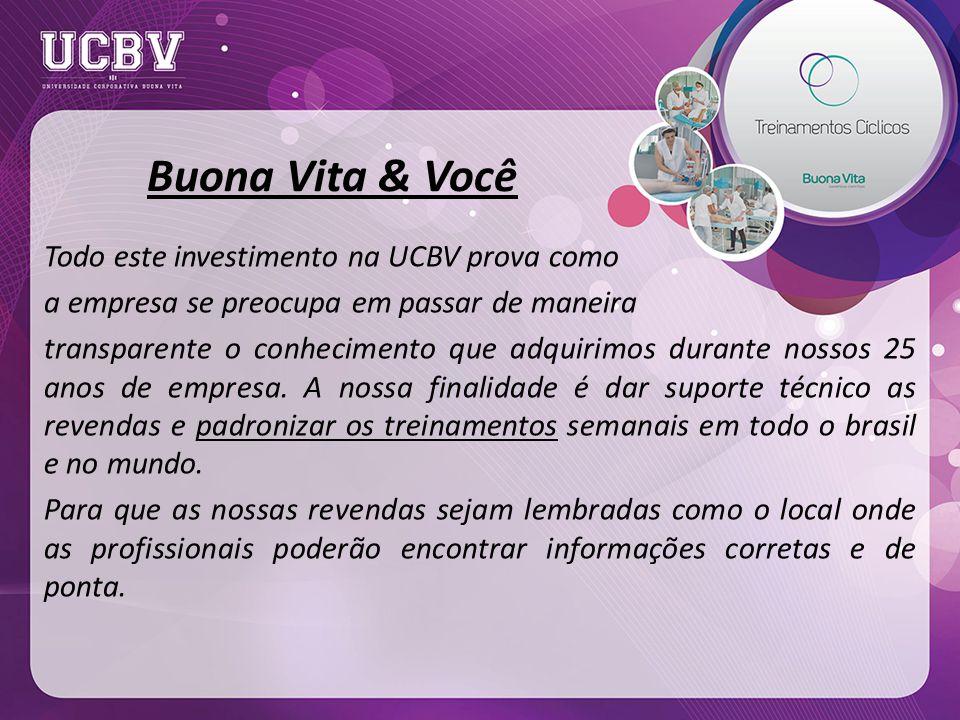 Buona Vita & Você Todo este investimento na UCBV prova como a empresa se preocupa em passar de maneira transparente o conhecimento que adquirimos durante nossos 25 anos de empresa.