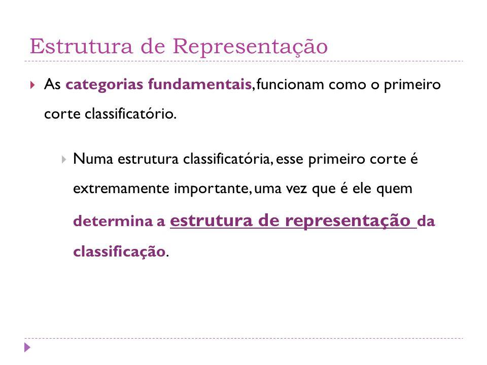 Estrutura de Representação  As categorias fundamentais, funcionam como o primeiro corte classificatório.