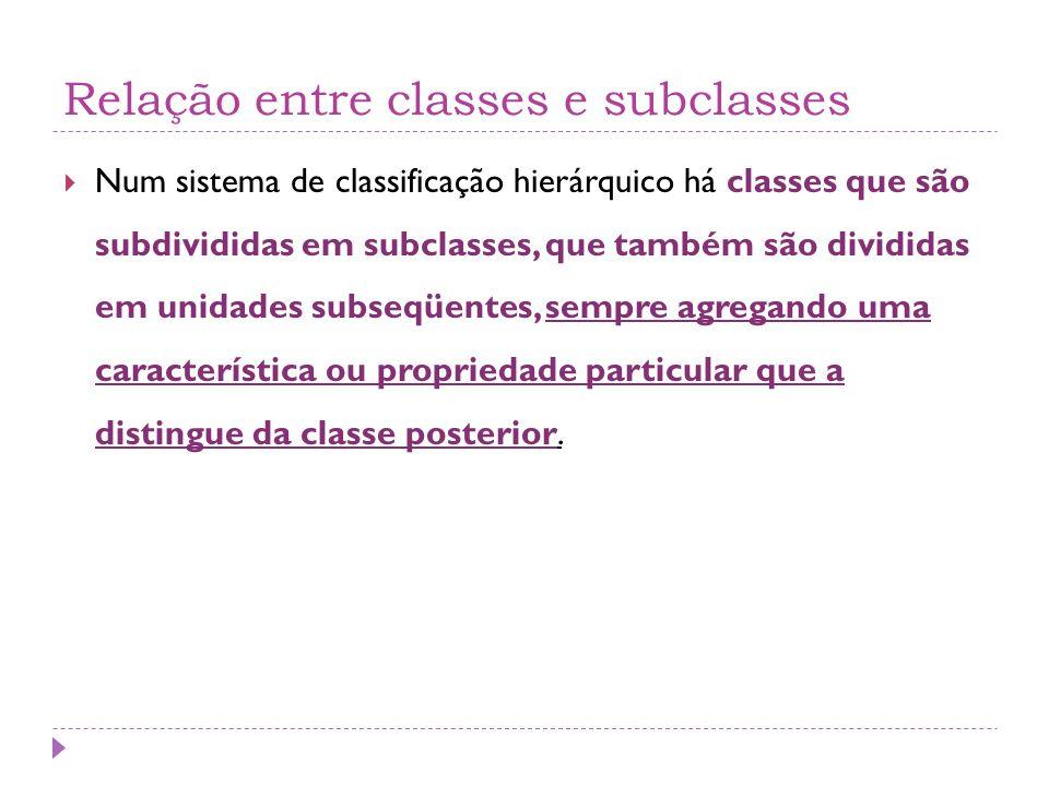 Relação entre classes e subclasses  Num sistema de classificação hierárquico há classes que são subdivididas em subclasses, que também são divididas em unidades subseqüentes, sempre agregando uma característica ou propriedade particular que a distingue da classe posterior.
