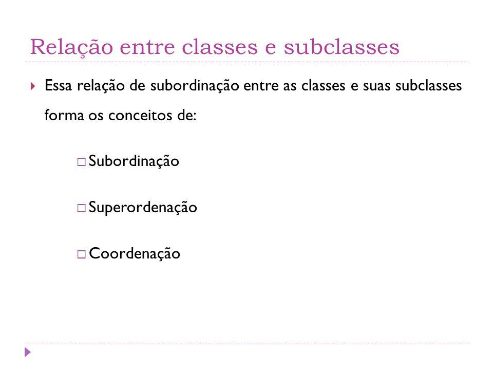 Relação entre classes e subclasses  Essa relação de subordinação entre as classes e suas subclasses forma os conceitos de:  Subordinação  Superordenação  Coordenação