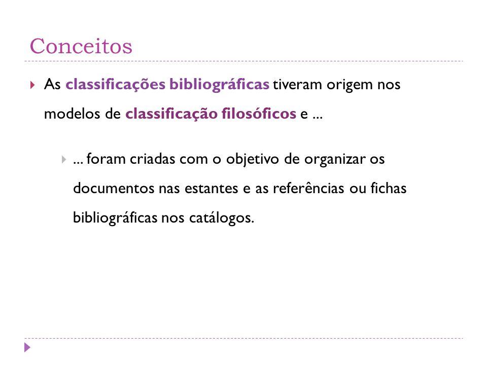 Conceitos  As classificações bibliográficas tiveram origem nos modelos de classificação filosóficos e... ... foram criadas com o objetivo de organiz