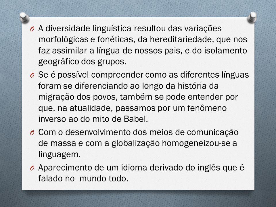 O A diversidade linguística resultou das variações morfológicas e fonéticas, da hereditariedade, que nos faz assimilar a língua de nossos pais, e do i