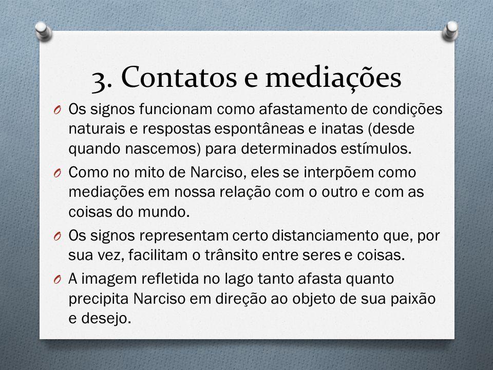 3. Contatos e mediações O Os signos funcionam como afastamento de condições naturais e respostas espontâneas e inatas (desde quando nascemos) para det
