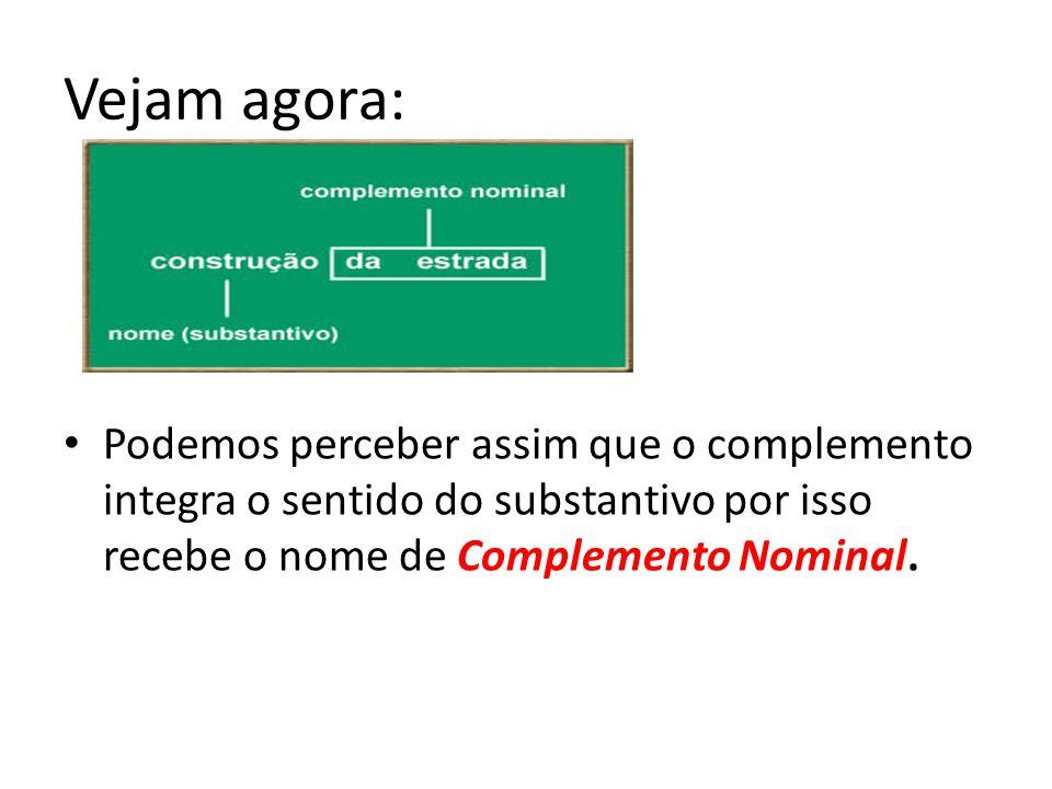 COMPLEMENTO NOMINAL Alguns nomes (substantivos e adjetivos) se comportam de maneira similar aos verbos transitivos, precisam de complementos, pois não