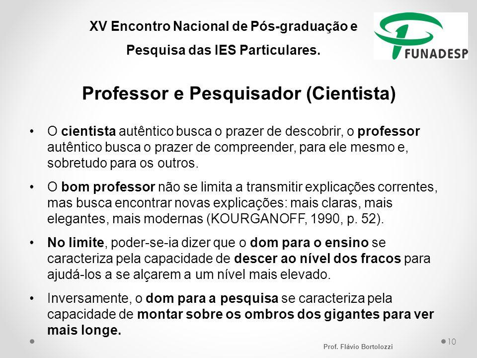 XV Encontro Nacional de Pós-graduação e Pesquisa das IES Particulares. Professor e Pesquisador (Cientista) O cientista autêntico busca o prazer de des