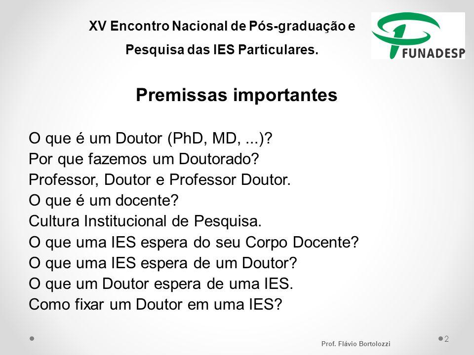 XV Encontro Nacional de Pós-graduação e Pesquisa das IES Particulares. Premissas importantes O que é um Doutor (PhD, MD,...)? Por que fazemos um Douto