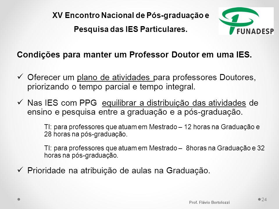 XV Encontro Nacional de Pós-graduação e Pesquisa das IES Particulares. Condições para manter um Professor Doutor em uma IES. Oferecer um plano de ativ