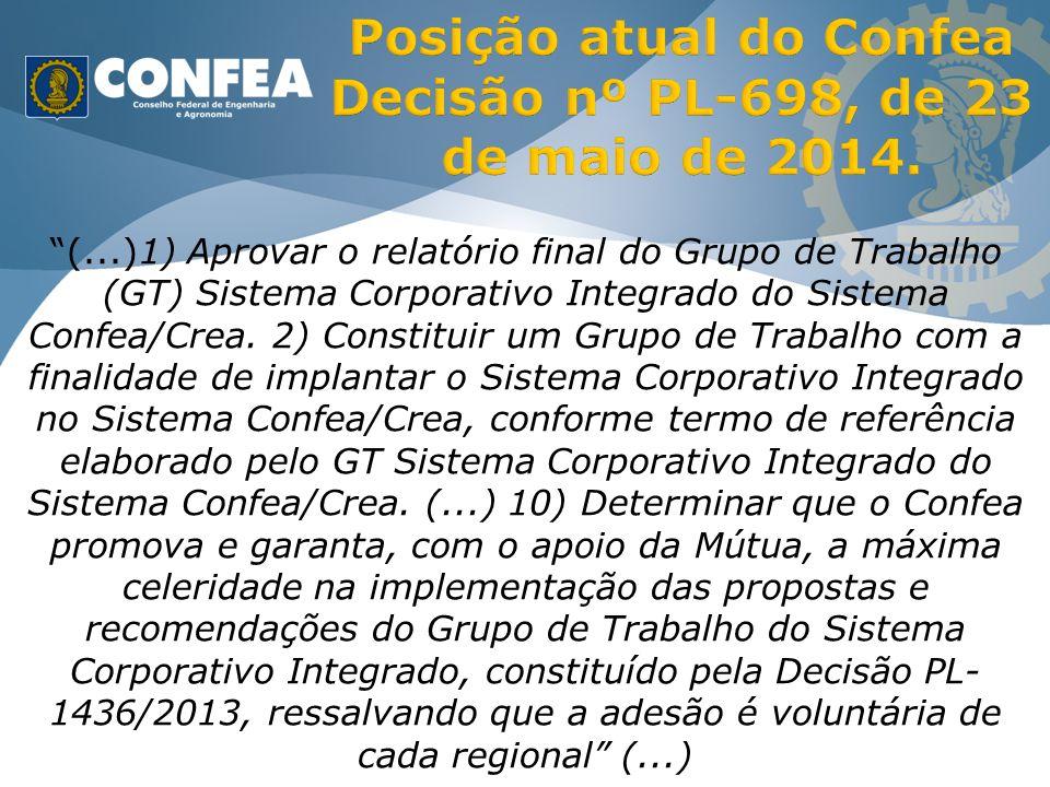 (...)1) Aprovar o relatório final do Grupo de Trabalho (GT) Sistema Corporativo Integrado do Sistema Confea/Crea.