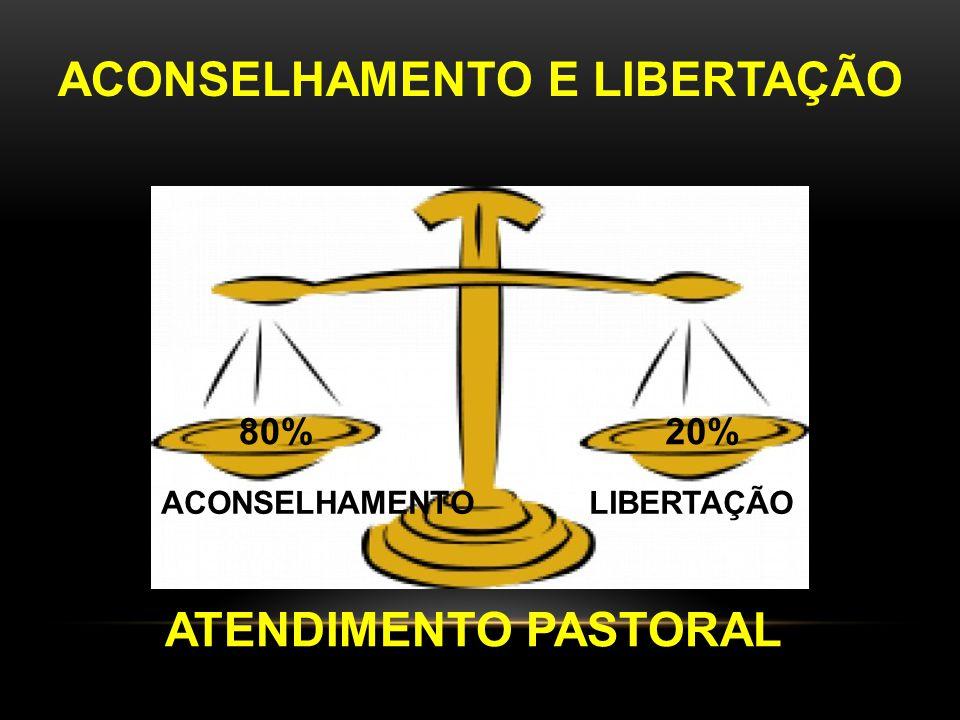 ATENDIMENTO PASTORAL ACONSELHAMENTO LIBERTAÇÃO 80%20% ACONSELHAMENTO E LIBERTAÇÃO