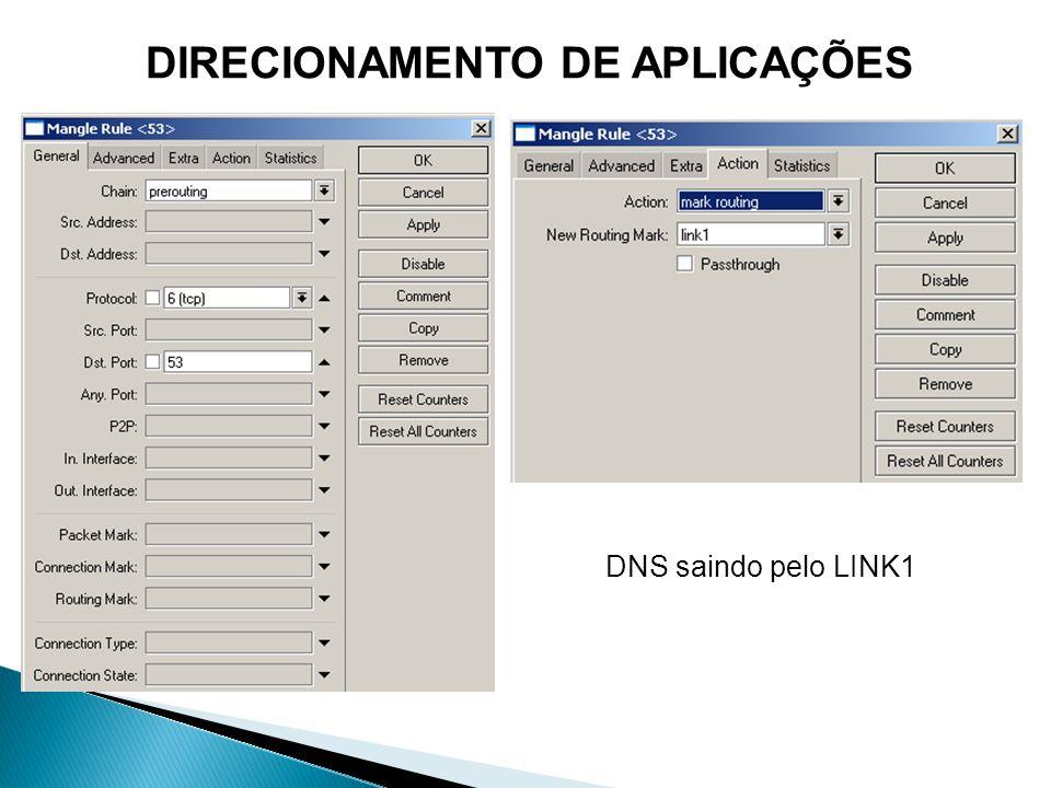 DNS saindo pelo LINK1
