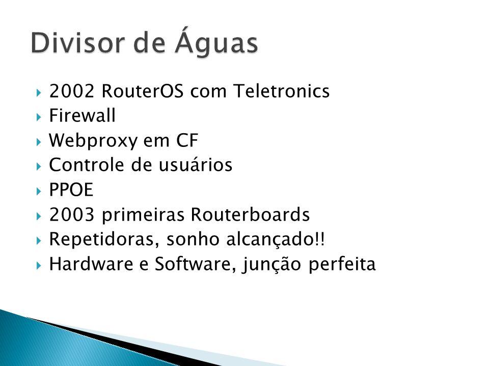 2002 RouterOS com Teletronics  Firewall  Webproxy em CF  Controle de usuários  PPOE  2003 primeiras Routerboards  Repetidoras, sonho alcançado