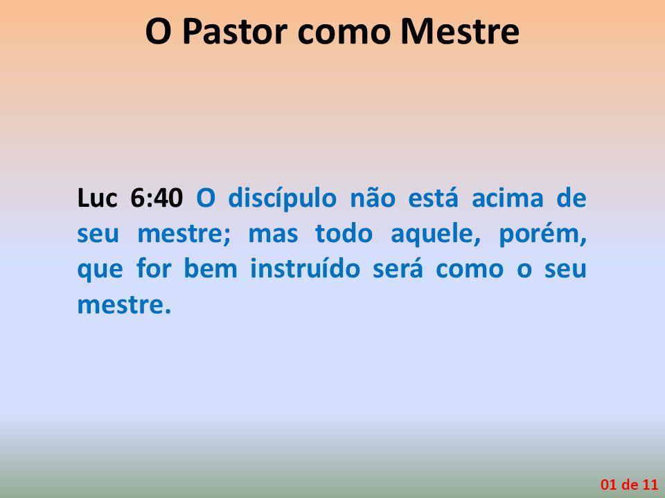 Luc 6:40 O discípulo não está acima de seu mestre; mas todo aquele, porém, que for bem instruído será como o seu mestre. 01 de 11