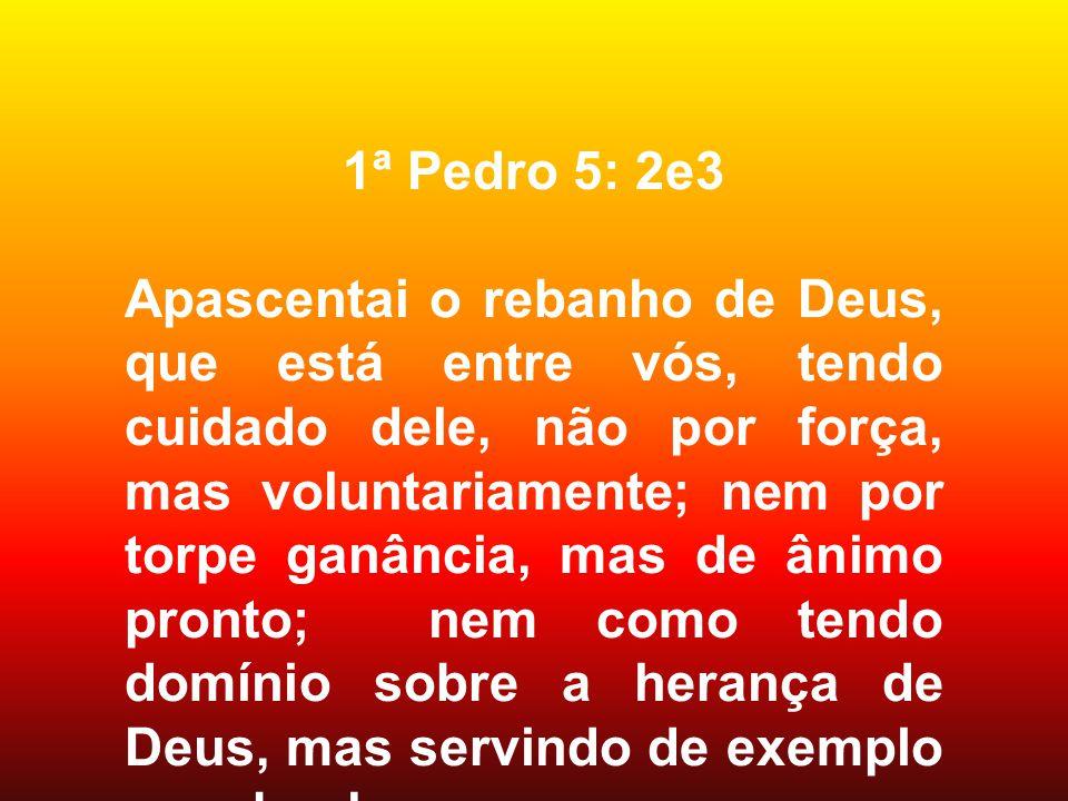 1ª Pedro 5: 2e3 Apascentai o rebanho de Deus, que está entre vós, tendo cuidado dele, não por força, mas voluntariamente; nem por torpe ganância, mas