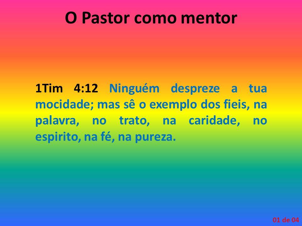 1Tim 4:12 Ninguém despreze a tua mocidade; mas sê o exemplo dos fieis, na palavra, no trato, na caridade, no espirito, na fé, na pureza. 01 de 04