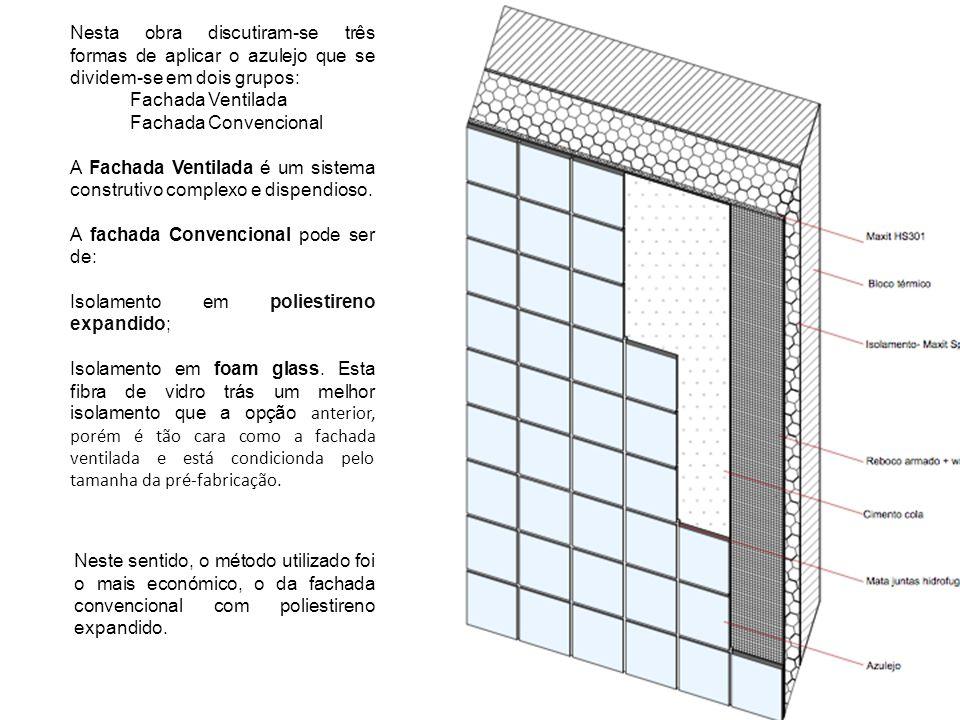 Nesta obra discutiram-se três formas de aplicar o azulejo que se dividem-se em dois grupos: Fachada Ventilada Fachada Convencional A Fachada Ventilada é um sistema construtivo complexo e dispendioso.