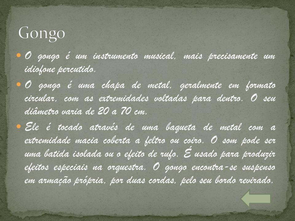 O gongo é um instrumento musical, mais precisamente um idiofone percutido. O gongo é uma chapa de metal, geralmente em formato circular, com as extrem