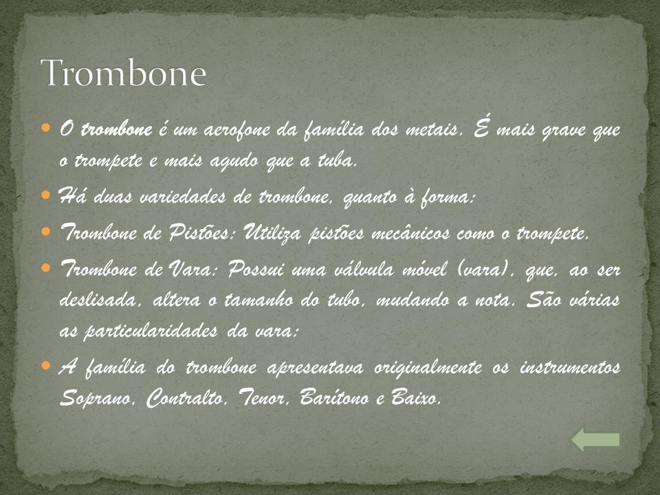 O trombone é um aerofone da família dos metais. É mais grave que o trompete e mais agudo que a tuba. Há duas variedades de trombone, quanto à forma: T