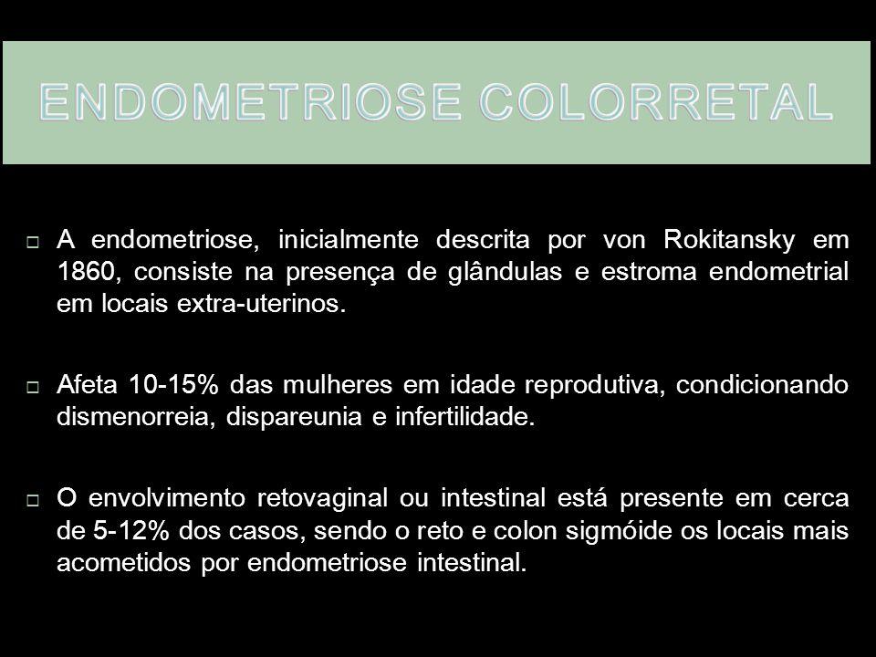  A endometriose, inicialmente descrita por von Rokitansky em 1860, consiste na presença de glândulas e estroma endometrial em locais extra-uterinos.