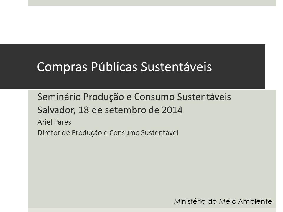 Compras públicas sustentáveis O Estado é um consumidor de grande escala  O Estado é um grande produtor de serviços  Os processos, os investimentos e os serviços prestados devem ser sustentáveis  O Decreto 7.746/2012 – As organizações do Gov.