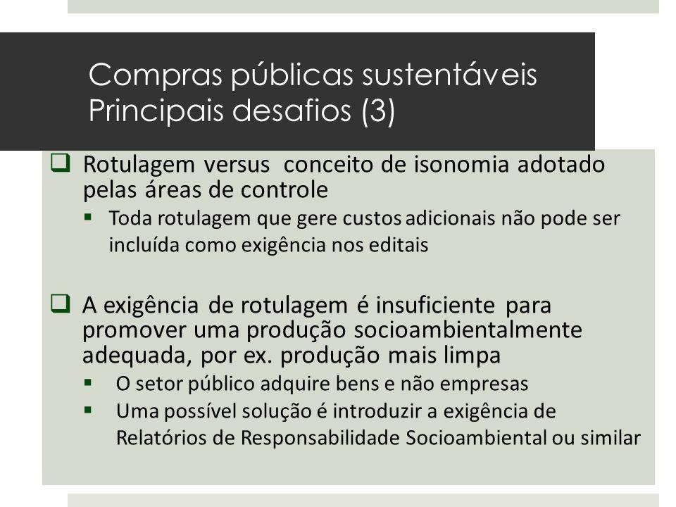  Rotulagem versus conceito de isonomia adotado pelas áreas de controle  Toda rotulagem que gere custos adicionais não pode ser incluída como exigênc