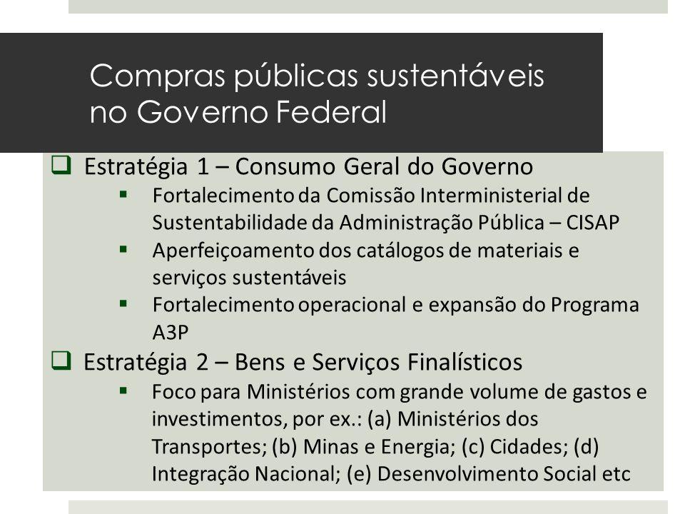  Estratégia 1 – Consumo Geral do Governo  Fortalecimento da Comissão Interministerial de Sustentabilidade da Administração Pública – CISAP  Aperfei