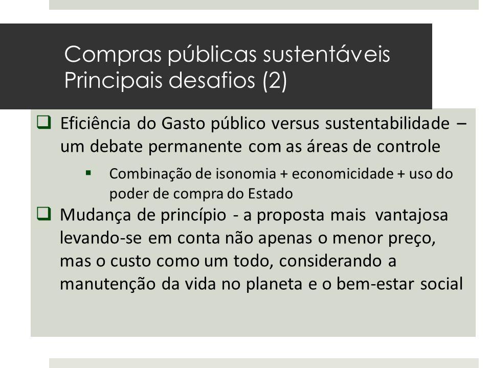  Eficiência do Gasto público versus sustentabilidade – um debate permanente com as áreas de controle  Combinação de isonomia + economicidade + uso d