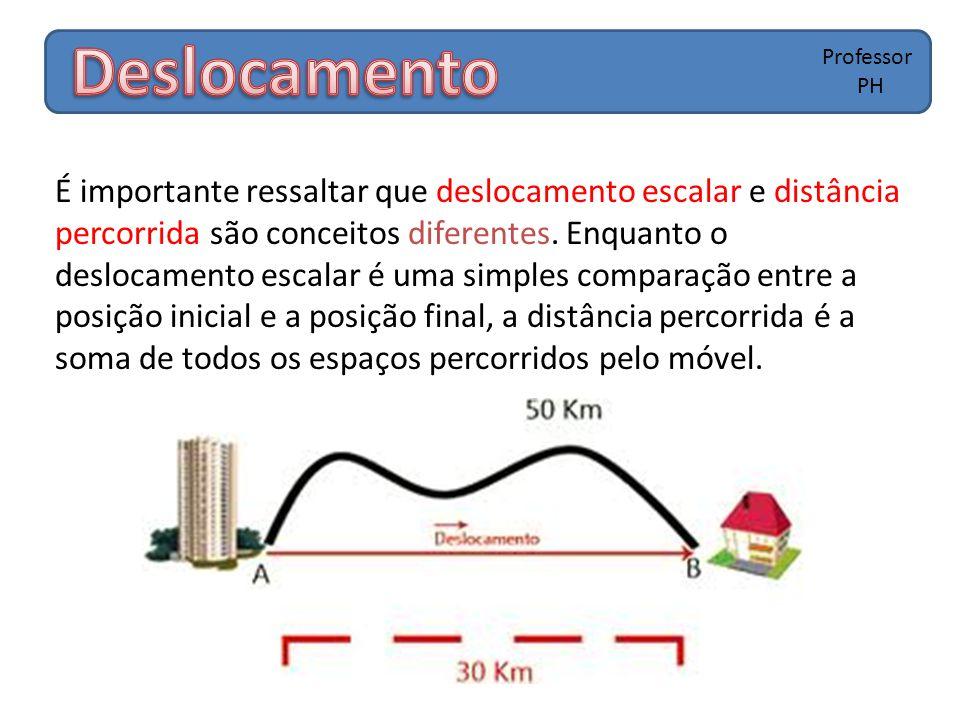 É importante ressaltar que deslocamento escalar e distância percorrida são conceitos diferentes. Enquanto o deslocamento escalar é uma simples compara