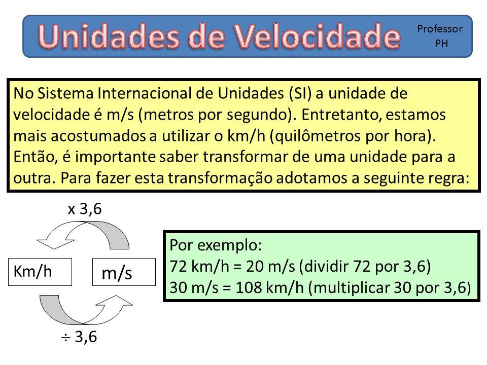 Professor PH No Sistema Internacional de Unidades (SI) a unidade de velocidade é m/s (metros por segundo). Entretanto, estamos mais acostumados a util