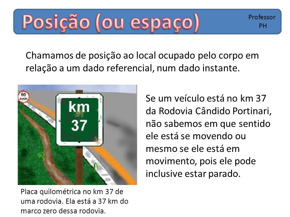 Chamamos de posição ao local ocupado pelo corpo em relação a um dado referencial, num dado instante. Professor PH Se um veículo está no km 37 da Rodov