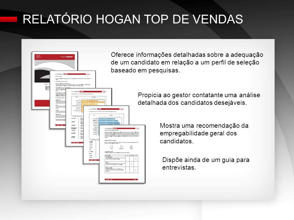 RELATÓRIO HOGAN TOP DE VENDAS Oferece informações detalhadas sobre a adequação de um candidato em relação a um perfil de seleção baseado em pesquisas.