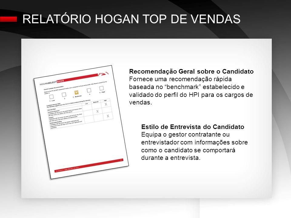 Recomendação Geral sobre o Candidato Fornece uma recomendação rápida baseada no benchmark estabelecido e validado do perfil do HPI para os cargos de vendas.