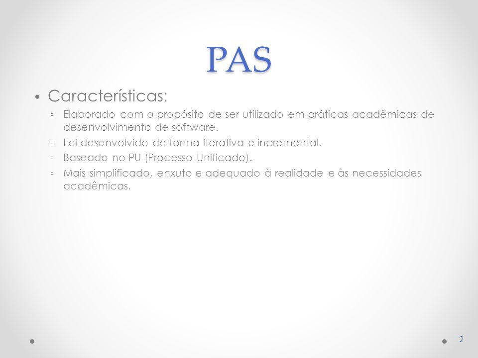 PAS Características: ▫ Elaborado com o propósito de ser utilizado em práticas acadêmicas de desenvolvimento de software.