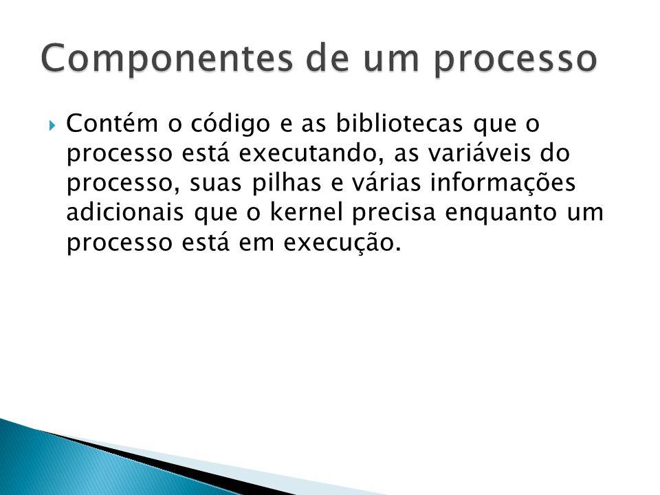  Contém o código e as bibliotecas que o processo está executando, as variáveis do processo, suas pilhas e várias informações adicionais que o kernel precisa enquanto um processo está em execução.