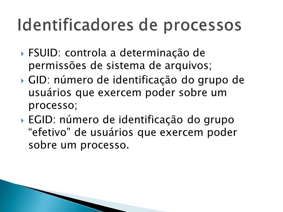  Usado para determinar quais recursos e arquivos um processo tem permissão de utilizar em um dado momento:  A) EUID  B) GID  C) PID  D) PPID